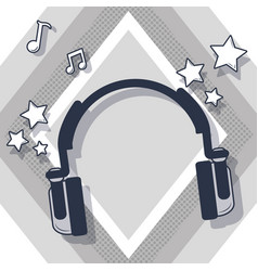 music headphones cartoon vector image