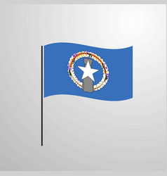 Northern mariana islands waving flag vector