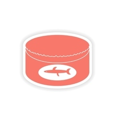 Paper sticker on white background canned fish vector