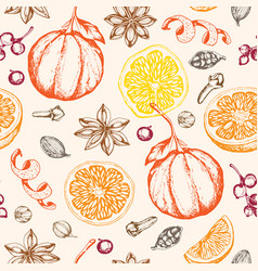 Pattern with ingredients and spices for mulled vector