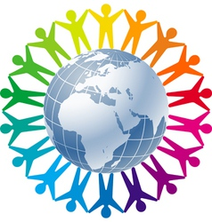 People joined around globe vector