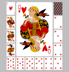 Playing cards hearts suit and back in funny vector