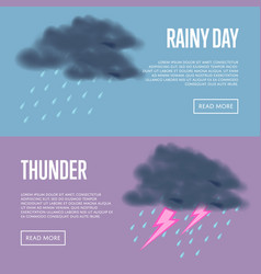 Rainy day and thunder with lightning banners vector