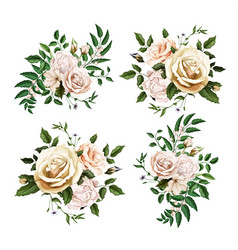 Realistic watercolor rose bouquet leaf set vector