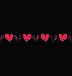 Red brush stroke dotty love hearts with 1950s vector
