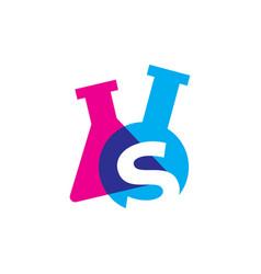 S letter lab laboratory glassware beaker logo icon vector