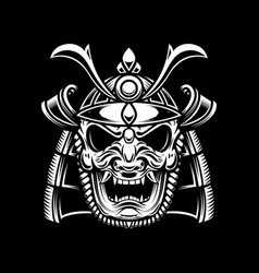 samurai helmet in tattoo style isolated on dark vector image