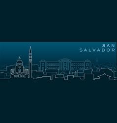 San salvador multiple lines skyline and landmarks vector