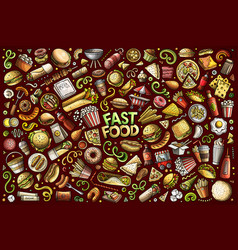 set fast food objects and symbols vector image
