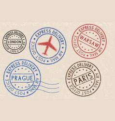 Set of colored ink postmarks with european cities vector