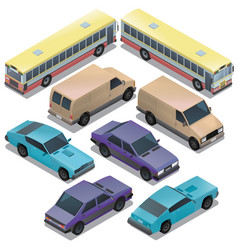 Set of isometric urban transportation cars vector