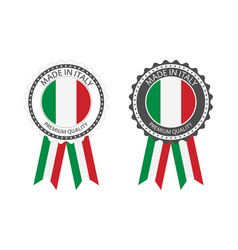 set premium quality labels with italian flag vector image