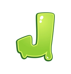 slimy font type letter j vector image
