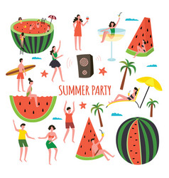 summer party with watermelon slices and people vector image