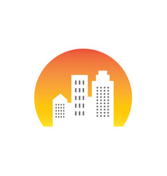 sunsite building cityscape logo vector image