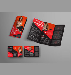 Template black tri-fold brochure with triangular vector