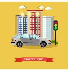 Traffic light concept flat vector