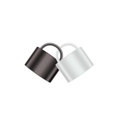 Two connected padlocks in black and white design vector