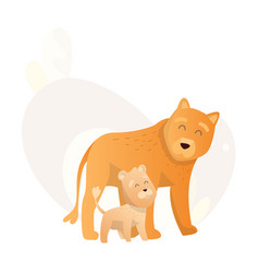 two lion look at each other animals mom and baby vector image