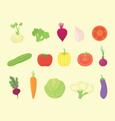vegetable set collection with various kind and vector image