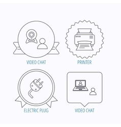 Video chat printer and electric plug icons vector image