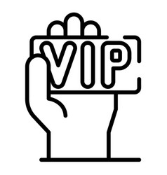 Vip card in hand icon outline style vector