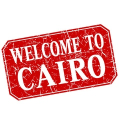Welcome to Cairo red square grunge stamp vector