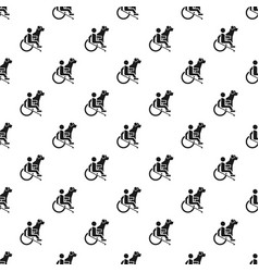 wheelchair man dog guide pattern seamless vector image