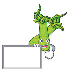 With board wasabi character cartoon style vector