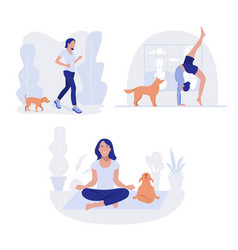 Woman and dog healthy lifestyle working out vector