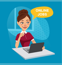 woman uses online recruitment service at home vector image