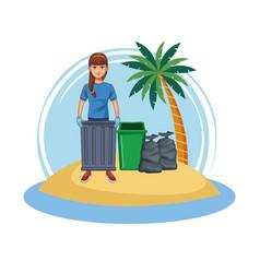 Woman volunteer cleaning beach vector