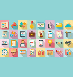 workflow management icons set flat style vector image
