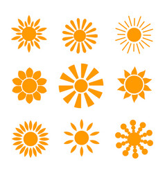 yellow sun icon set isolated on white background vector image