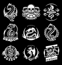 vintage white dragon tattoo labels set vector image vector image