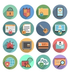 Computer security icons set flat round vector image vector image