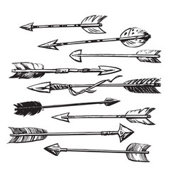 set of 9 ethnic indian arrows vector image