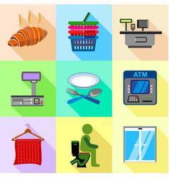 supermarket labels icons set flat style vector image
