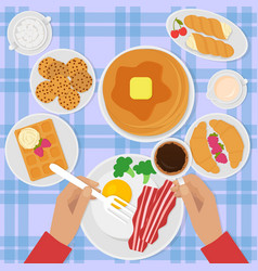 breakfast top view in flat vector image