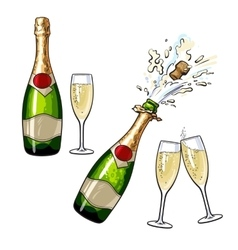 Closed open champagne bottle and glasses vector