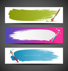 Colorful Paint brush banners background set vector image vector image
