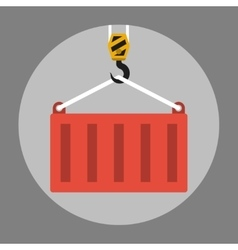 Crane lifts a container vector image vector image