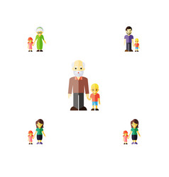 flat icon people set of grandchild daugther vector image vector image