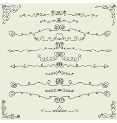 hand drawn calligraphic design elements vector image