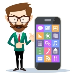 Man showing on his smartphone vector