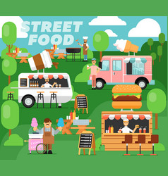 street food festival poster in flat style vector image vector image