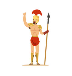 warrior character naked man in a helmet and a vector image vector image