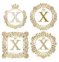 golden letter x vintage monograms set heraldic vector image