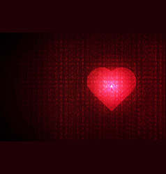 heart lock abstract red futuristic english code vector image