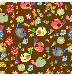 Seamless cartoon Background with color Birds vector image vector image
